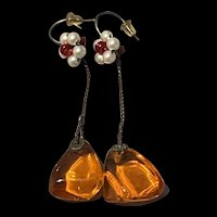 Stunning Art Deco Baltic Amber With Faux Pearls Flower Dangling Earrings