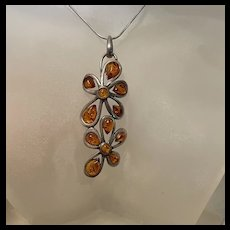 Amazing Vintage Baltic Honey Amber With Floral Design Pendant