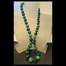 """Stunning Vintage Chinese Graduated              Malachite Beads Necklace 21"""" Inches"""