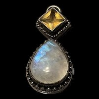 Gorgeous Art Deco Blue Moonstone With Natural Citrine Sterling Pendant