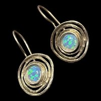 Stunning Vintage Sterling Opal Earrings With Fully Hallmarks