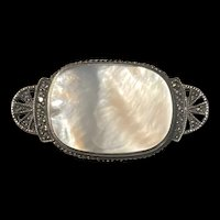 Gorgeous Art Deco Vintage Sterling Mother Pearl Brooch With Marcasite