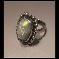 Vintage Natural Druzy Quartz Agate Simulate Opalescent Effect Ring