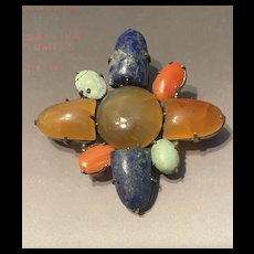 Antique Chinese Export Multi Cabochon Gemstone Brooch