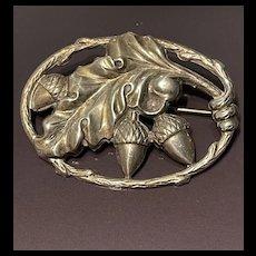 Vintage Sterling Silver Danecraft Oak Leaf & Acorn Brooch