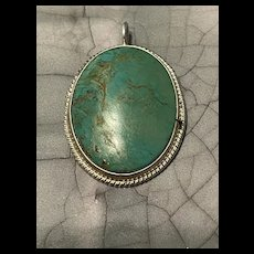 Amazing Vintage Native American Green Turquoise Pendant