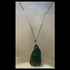 Fabulous Vintage One Of Kind Sterling Malachite Statement Pendent Necklace