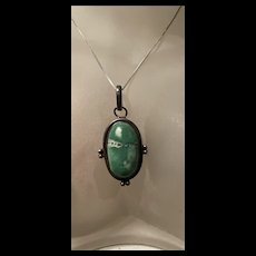 Amazing Vintage Native American Turquoise Sterling Silver Pendant