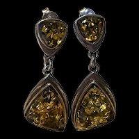 Stunning Vintage Baltic Green Amber Sterling Earrings