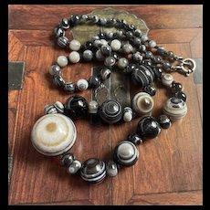 Sunning 1940's Bullseye Agate Banded Beads Necklace