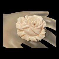 Incredible Vintage Huge Sterling Silver Natural White Coral Rose Flower Statement Ring