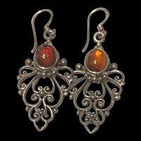 Stunning Filigree Sterling Silver Paste Amber Drop Earrings