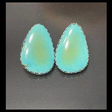 Unusually Signed H. Spenor STERLING Large Sleepy Beauty Turquoise Sterling Post Earrings