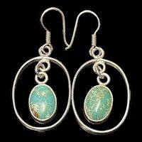Stunning Sterling Natural Turquoise Hoop Dangling Earrings