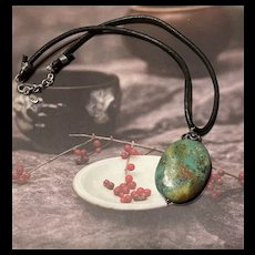 BARSE Sterling Natural Turquoise Stone Pendant Leather Necklace