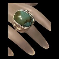Fabulous Vintage Large Sterling Blue-Green Turquoise Statement Ring