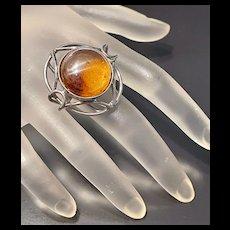 Fabulous Vintage Large Sterling Baltic Natural Amber Statement Ring