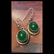 Gorgeous Vintage Natural Chrysoprase Sterling Dangling Earrings