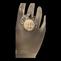 Incredible Large Sterling SAJEN Lady Goddess Face Statement  Ring