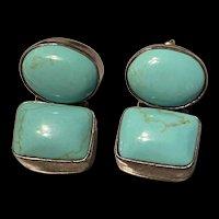 An Amazing Vintage Mexico Sleepy Beauty Turquoise Drop Earrings