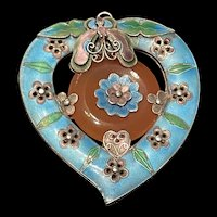 Incredible Unusually 1940's Large Chinese Export Sterling Enameled Heart Shape With Carnelian Butterfly Double Side Pendant