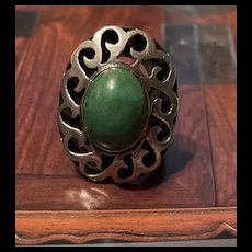 Gorgeous Vintage Large Art Deco Style Natural Green Turquoise Sterling Ring With Fully Hallmarks