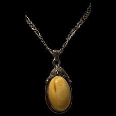 Gorgeous Vintage Baltic Butterscotch Amber Pendant With Italian Sterling Silver Necklace