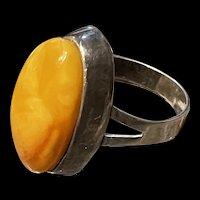 Fabulous Vintage Genuine Baltic Butterscotch 875 Silver Ring
