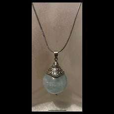 Gorgeous Vintage Large Aquamarine Bead 22Mm Pendant Sterling Silver Necklace