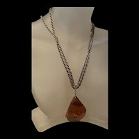 Vintage Baltic Natural Honey Amber Pendent With Gilt Long Necklace