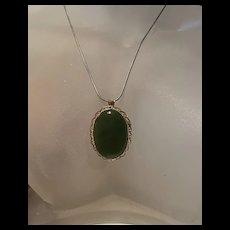 Vintage Gold Filled Filigree Jade Pendant/Brooch