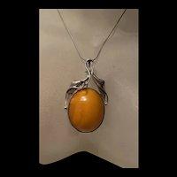 Impressive Art Deco Large Sterling Natural Butterscotch Amber Brooch/ Pendat