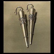 Fabulous Vintage Sterling Silver Bullet Dangling Statement Earrings