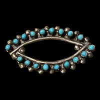 Gorgeous 835 Silver Zuni Petite Point Snake Eye Turquoise Brooch