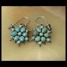 Gorgeous BARSE Sterling Squash Blossom Turquoise Drop Earrings