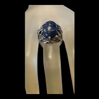 Gorgeous Vintage Foliate Lapis lazuli Sterling Sliver Ring