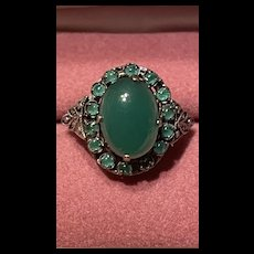 Hold For Sheila Delicate Art Deco Vintage Natural Chrysoprase With Green Onyx Sterling  Ring