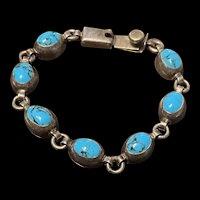 Stunning Vintage Mexico Sterling Silver Natural Turquoise Bracelet Signed
