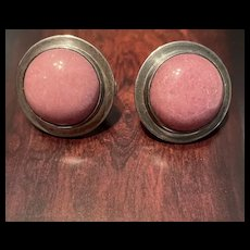 Fabulous Mexico Vintage Thulite Pink Stone Sterling Earrings