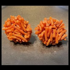 Antique Large Sterling Silver Natural Branch Coral Cluster Screw Back Earrings