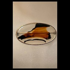 Victorian Gold Filled Translucent Picture Agate Brooch