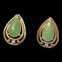 Striking Vintage 14K Gold And Diamond Jadeite Jade Earrings