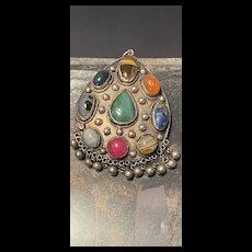 Rare Antique Huge Tibet Silver Multi Cabochon Gemstone Amulet Pendent