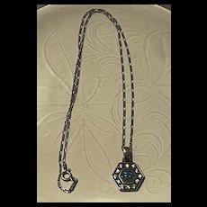 Striking Vintage Sterling Blue Opal Pendent Necklace