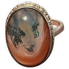 Rare Art Deco Vintage Picture Agate Sterling Ring