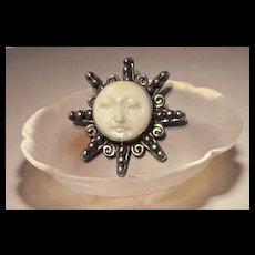 Splendid Vintage Large Sterling Carved White Jasper Moon Sun Face Statement Brooch