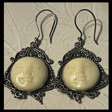 Gorgeous Vintage Large Ladies Goddess Face Sterling Statement Earrings