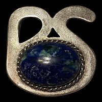 Amazing Blue Sodalite Vintage Sterling Silver Brooch