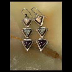 Unusual Vintage Long Triangle Sterling Sliver Dangle Earrings