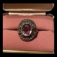 Art Deco  Vintage Marcasite With Amethyst Sterling Ring